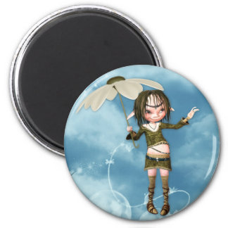 Elf in the Clouds 2 Inch Round Magnet