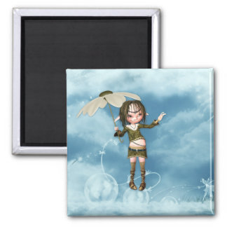 Elf in the Clouds 2 Inch Square Magnet