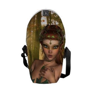 Elf in Woods Messenger Bags