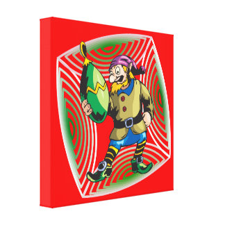 Elf Inspects Christmas Ornament Canvas Print