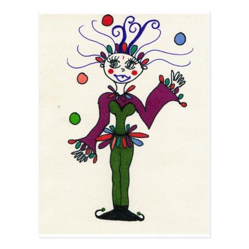 Elf Jester Juggling Postcard
