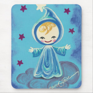 Elf Kiddo On A Cloud With Stars Mouse Pad