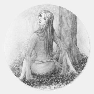 Elf Lady Classic Round Sticker