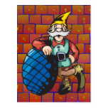 Elf Leaning On Christmas Ornament Post Cards