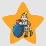 Elf Leaning On Christmas Ornament Star Sticker