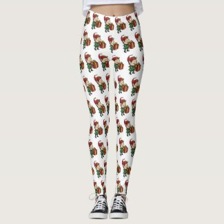 Elf Leggings - Elf with Present Christmas Leggings