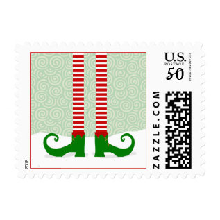 Elf Legs Christmas Stamps at Zazzle