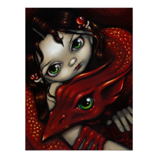 Elf Maiden and Her Dragon ART PRINT
