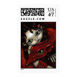 """""""Elf Maiden and Her Dragon"""" Stamp"""