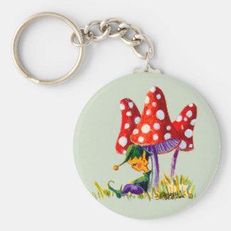 ELF & MUSHROOMS by SHARON SHARPE Keychain