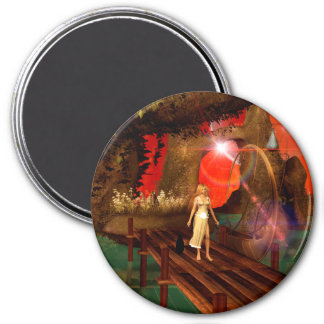 Elf on a jetty with a lamp boat fridge magnet