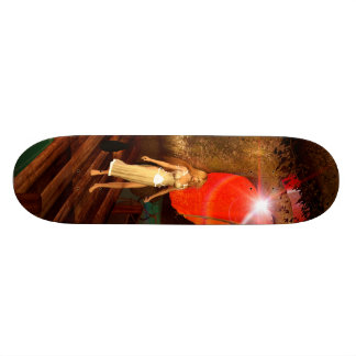 Elf on a jetty with a lamp boat skate boards