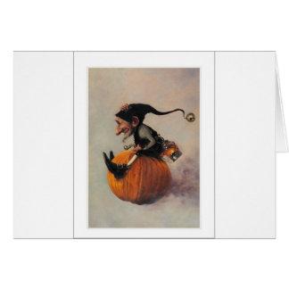 ELF ON A PUMPKIN CARD
