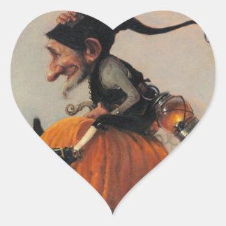 ELF ON A PUMPKIN HEART STICKER