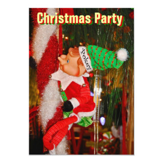 Elf On Candy Cane Invitation