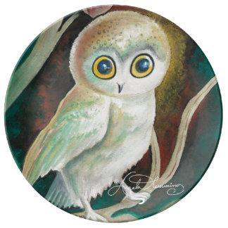 Elf Owl On Autumn Branch Dinner Plate