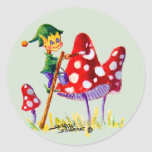 ELF PAINTING MUSHROOM by SHARON SHARPE Round Stickers