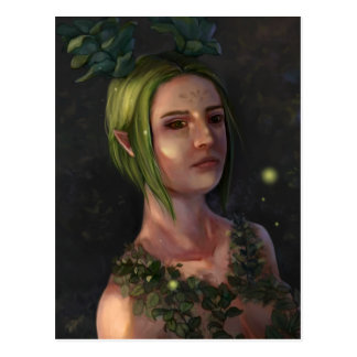 Elf Portrait Art Postcard - One with Nature