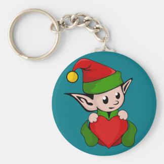 Elf red heart keychain
