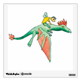 Elf Riding a Green Dragon Wall Sticker