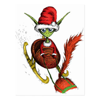 Elf Riding Sleigh Postcard