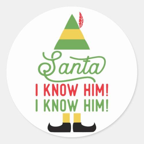 Elf Santa I know Him Christmas Stickers