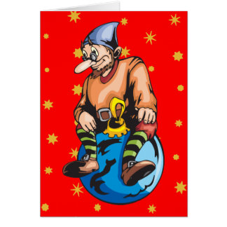 Elf Sitting On Christmas Ornament Stationery Note Card