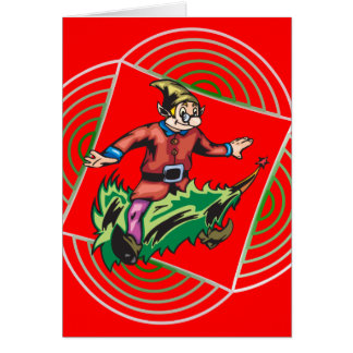 Elf Sitting On Christmas Tree Stationery Note Card
