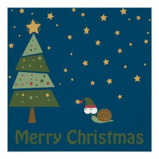 Elf Snail Christmas Scene Poster