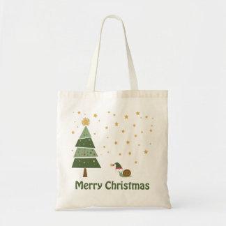 Elf Snail Christmas Scene Tote Bag