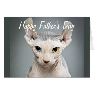 Elf Sphinx Cat Photograph Happy Father's Day Card