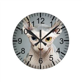 Elf Sphinx Cat Photograph Round Clock