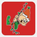 elf swinging on lights square sticker