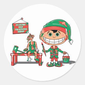 Elf Training Classic Round Sticker