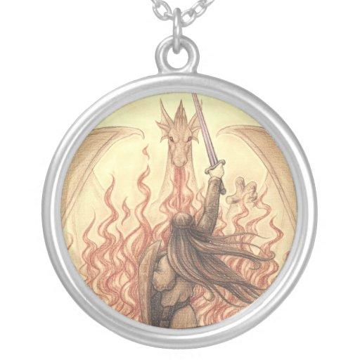 Elf vs Dragon Round Pendant Necklace