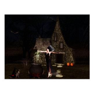 Elf Witch Halloween Postcard