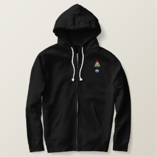 Elf with bulb embroidered hoodie