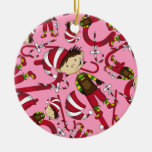 Elf with Candy Cane Christmas Ornament