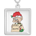 elf with merry christmas sign necklace