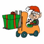 elf with package on forklift acrylic cut out