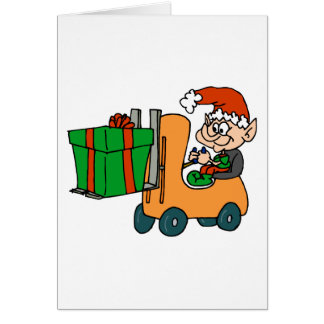 elf with package on forklift greeting card