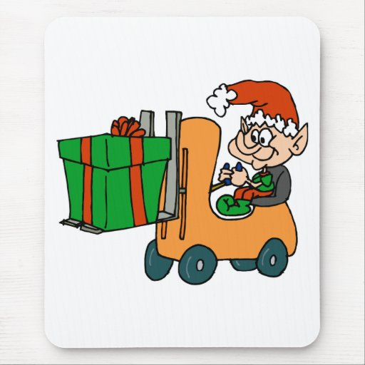 elf with package on forklift mousepads