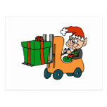 elf with package on forklift postcard