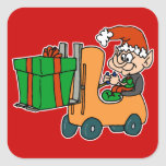 elf with package on forklift square sticker
