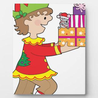 Elf with Present Plaque