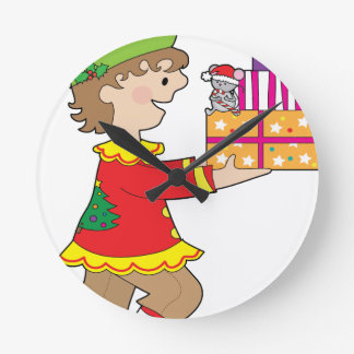 Elf with Present Round Clock