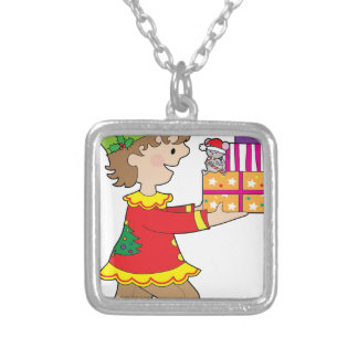 Elf with Present Silver Plated Necklace
