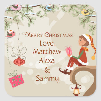 Elf with presents and birds on branches gift tag square sticker