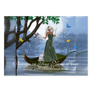 Elf with White Cat Riding on Leaf Business Cards