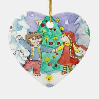 Elfdance Christmas Heart Ornament